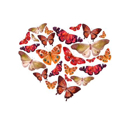 Watercolor heart filled with bright transparent butterflies of red, orange, ocher shade