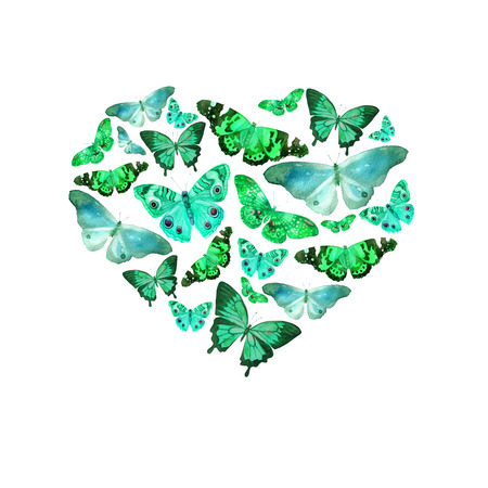 butterfly isolated: Watercolor heart filled with bright transparent butterflies of blue, green, turquoise, mint shades
