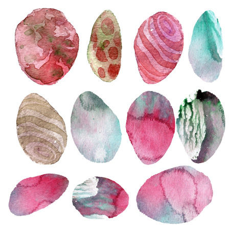 Watercolor illustration. Set of transparent stones of tender pink and gray shades Stock Photo