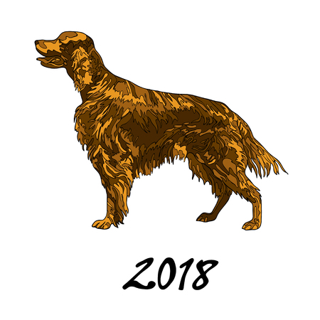 Vector illustration, the image of a dog of the breed setter. The inscription 2018