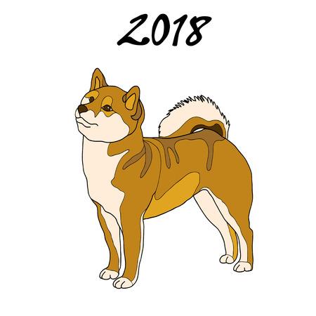 calendar design: Vector illustration of an image of a dog breed of Shiba Inu. The inscription 2018