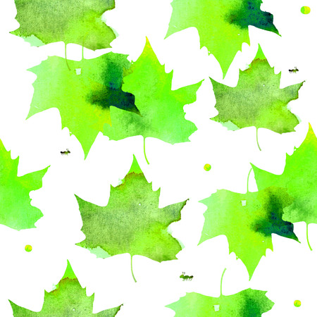 gently: Watercolor illustration. Pattern of transparent warm green maple leaves. Stock Photo