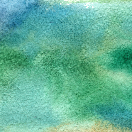 wet paint: Illustration of a watercolor texture of blue and green colors. Watercolor abstract background, blots, blur, fill, print, spray, rub