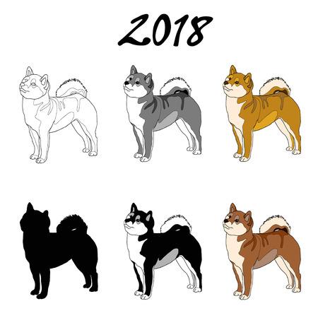 柴犬の犬種の画像のベクター イラストです。黒の線、黒と白と灰色のスポット、黒シルエット、カラー画像。碑文 2018  イラスト・ベクター素材