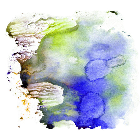Watercolor texture, an impression of bright saturated blue and green colors. Illustration. Watercolor abstract background, spots, blur, fill, print, rub