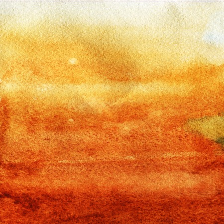 Watercolor texture of a transparent orange, brown color. Illustration. Watercolor abstract background, spots, blur, stretching, pouring, print splashing rubbing