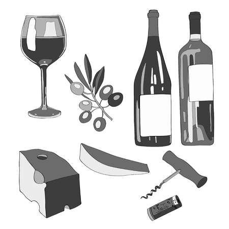 Wine set icons Stock Vector - 100543635