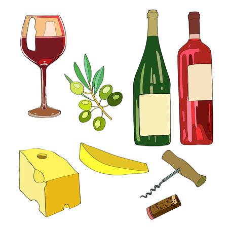 Wine set icon Illustration