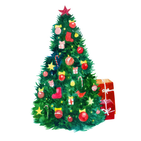 Watercolor illustration. Christmas tree decorated with Christmas toys, lanterns, bows and stars. Stock Photo