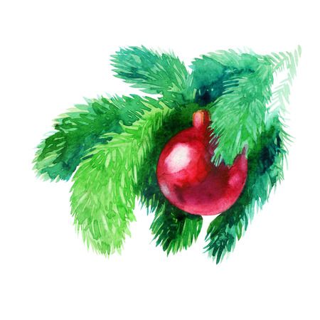 Watercolor illustration. Christmas tree, spruce branch with Christmas red ball. Stock Photo