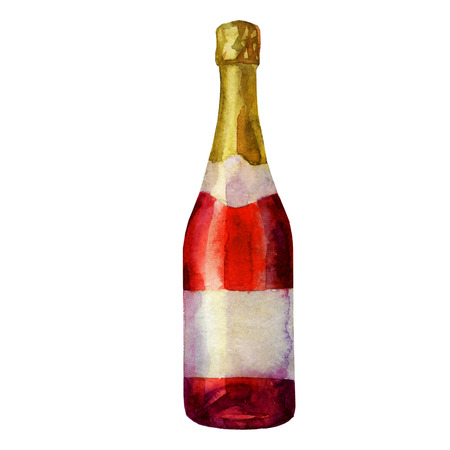 Watercolor illustration. Red bottle of champagne, sparkling wine