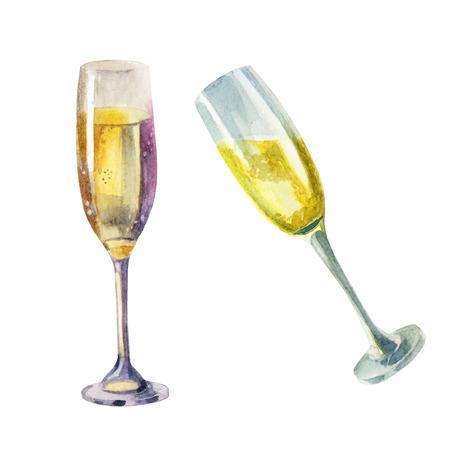 Watercolor illustration. Wine glasses, champagne glasses sparkling wine Stock Photo
