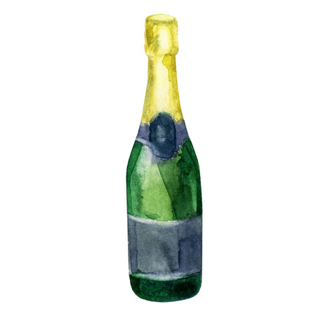 Watercolor illustration. A bottle of champagne