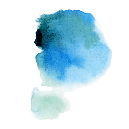 Watercolor illustration. Watercolor stain of blue Stock Photo