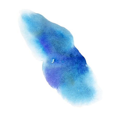 Watercolor illustration. Blue watercolor stain