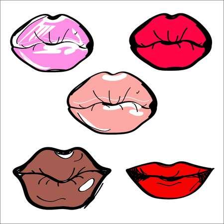Vector illustration. Lips of different shapes and colors. 向量圖像