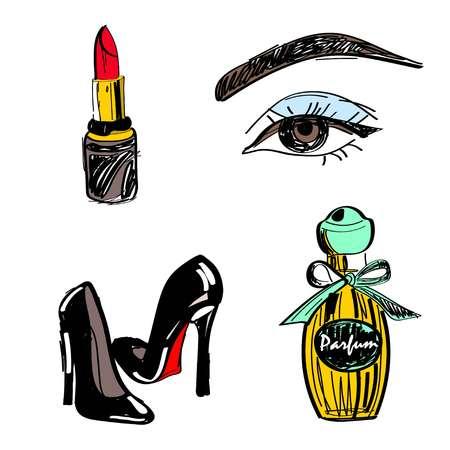 Vector illustration, set. Lipstick eyes stilettos perfume bottle