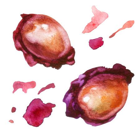 Watercolor illustration. Cherry bones, red splashes cherry juice