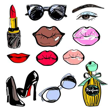 Vector illustration, set. Lipstick, sunglasses, lips of different shapes and colors, eyes, high heels, a bottle of perfume Illustration