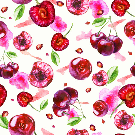 Watercolor illustration, pattern. Berries on white background. Cherry berries, cherry seeds, pink spots
