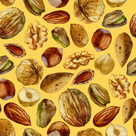 Watercolor illustration, pattern. Nuts on a beige background