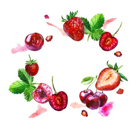 Watercolor illustration, pattern. Berries on white background. Raspberries, raspberries on a twig, pink spots