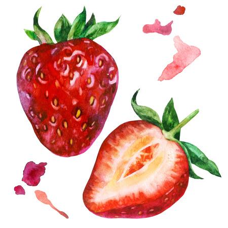 Watercolor illustration, set. Big strawberry, sliced strawberry.
