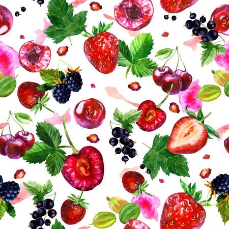 Watercolor illustration, pattern. Berries on white background. Cherries, strawberries, currants, blackberries, gooseberries, pink spots