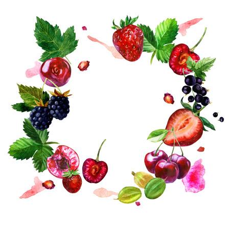 Watercolor illustration, frame. Berries on white background. Cherry berries, cherry stones, strawberries, blackberries, currants, gooseberries, leaves, pink spots.