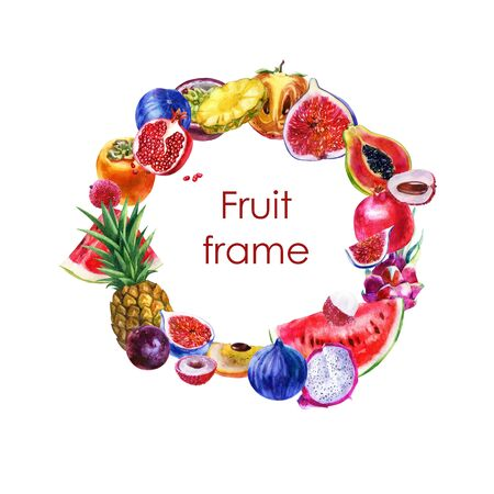 Watercolor illustration. Summer round fruit frame. Tropical fruits on white background. Summer motif