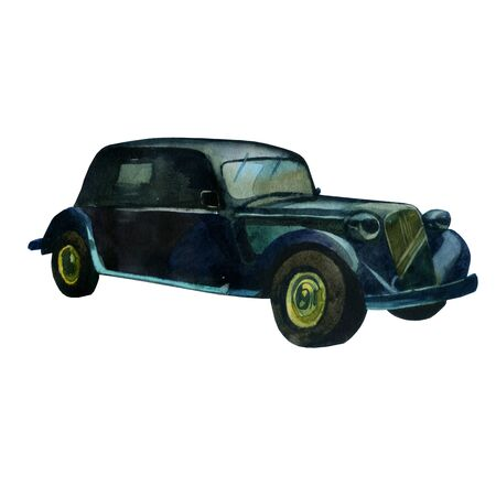 Watercolor illustration. Retro style car in black Stockfoto