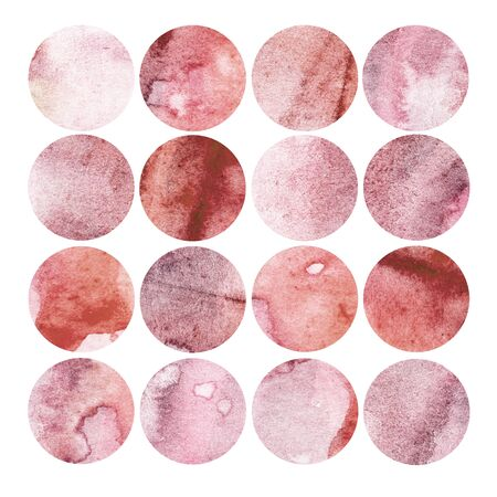 Watercolor illustration, set. Circle shaped watercolor texture. Shades of pink and red