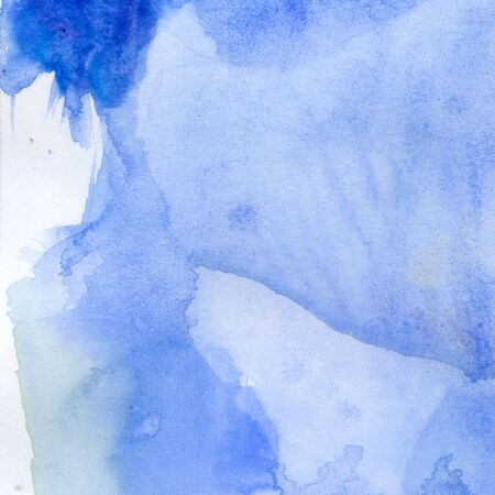 Watercolor illustration. Texture. Watercolor transparent stain. Blur, spray Of blue color
