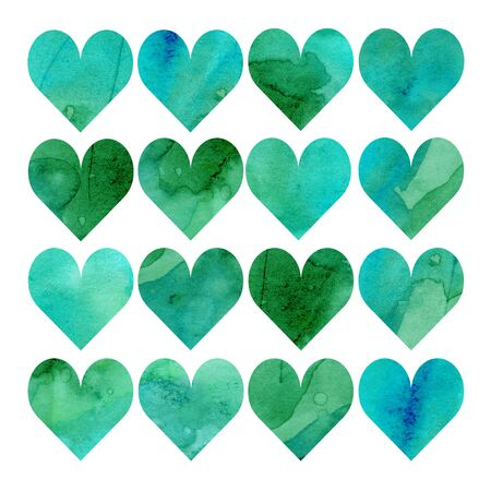 Watercolor illustration, set. Heart shaped watercolor texture. Shades of green, blue, mint and turquoise 스톡 콘텐츠