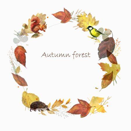 Watercolor illustration, frame. Autumn forest. Watercolor mushrooms, leaves animals birds Hedgehog tit
