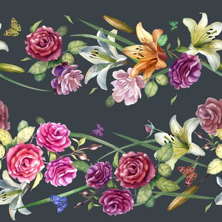 Watercolor illustration pattern. Flowers roses, peonies, lilies on a gray background. Spring summer motive. Banque d'images