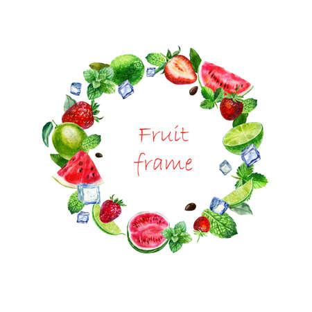 Watercolor illustration, frame. Mojito frame. Strawberries, watermelon lime mint ice cubes. Archivio Fotografico