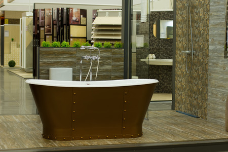 bathroom wall: Modern bathroom interior with stone wall.