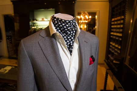 businesslike: showcase with business mens suit Stock Photo