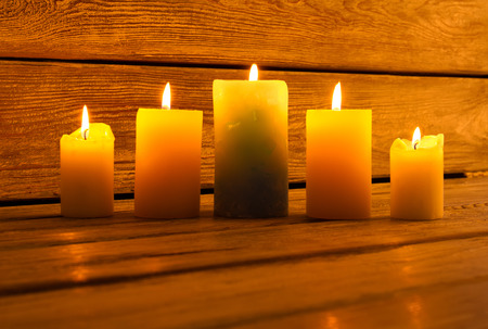 Beautiful bright light candles. Candles for a nice evening decoration. Romantic mood.