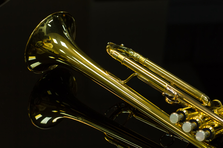 Beautiful golden trumpet on a black background