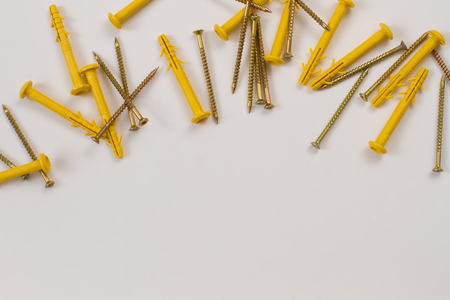 screws and dowels are scattered on a white background
