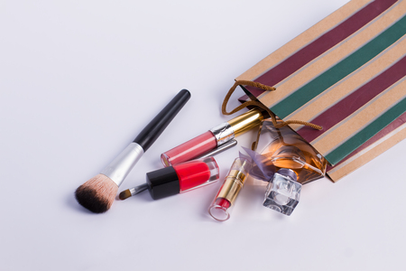 pomade: Scattered cosmetics isolated on white Stock Photo
