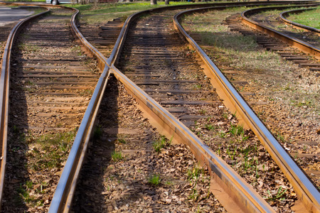 diverge: Railway tracks diverge in different directions.