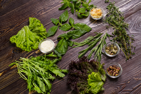 Spices and herbs on wooden table. Food and cuisine ingredients. Colorful natural additives.