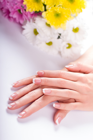Beautiful female hand. Well-groomed female hands with manicure on a background of bright flowers. Stock fotó