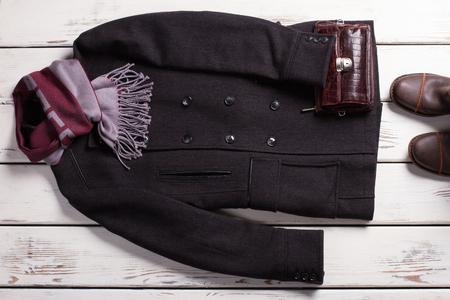 Male wardrobe. Stylish mens clothing. Classic style. Stock Photo