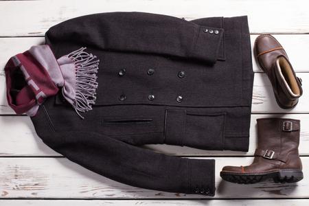 Stylish mens clothing. Classic style. Male wardrobe. Stock Photo