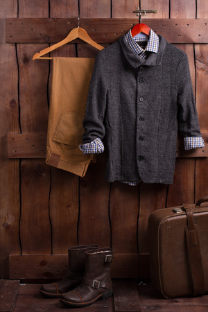 postwar: Old mens clothing. Clothing of the postwar period. Stock Photo