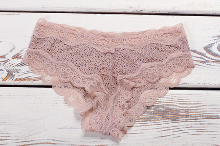 Beige silk panties with lace. Womens sexy lingerie.